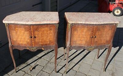 Antique pair of Fine French marquetry Inlaid wood side end table Marble top