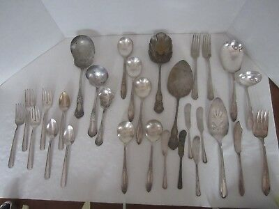 29 Pieces Silverplate Silver Flatware, Vernon Princess Royal Oneida King Edward
