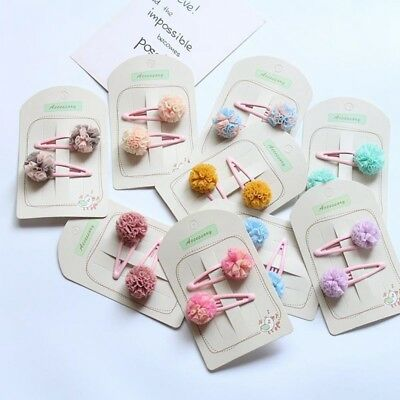 2X Cute Baby Girls Hair Accessories Candy Color Pompom Hair Clips Kids Hairpins
