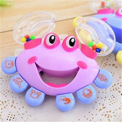 1Pc Baby Kids Crab Design Handbell Musical Instrument Jingle Shaking Rattle Toy