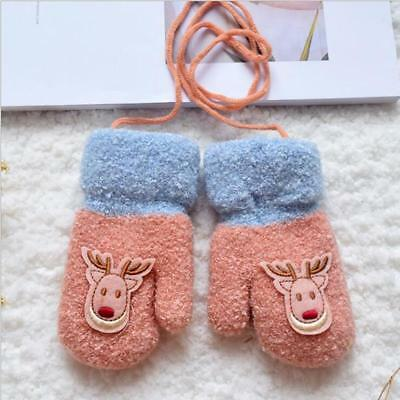 Warm Baby Girl Boy Xmas Gift Cute Deer Gloves Mittens Soft Full Finger Gloves LC