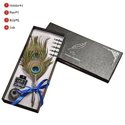 1Set English Calligraphy Feather Dip Pen Writing Ink Set Gift Box Wedding Gift