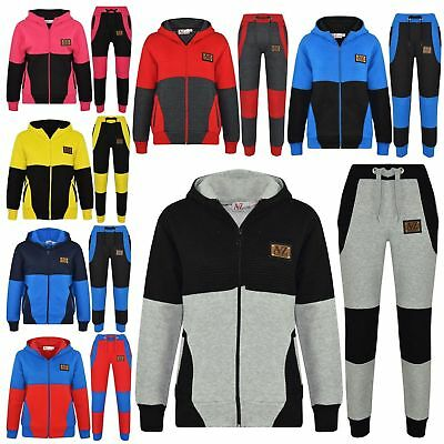Kids Boys Girls Jogging Suit Designer's Tracksuit Zipped Top & Bottom 5-13 Years
