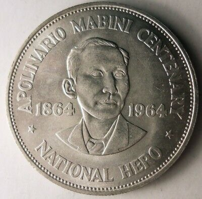 1964 PHILIPPINES PESO - Excellent Details - VERY Scarce Silver Coin - Lot #D15