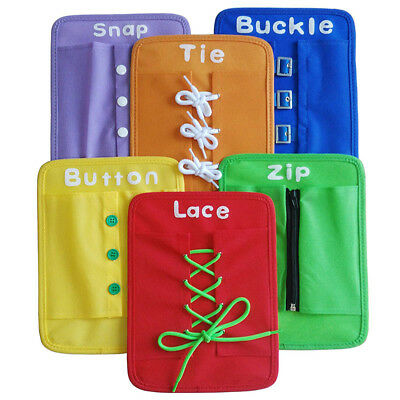 6PCS Child Montessori Learn to Dress Board Toy Zip Tie Snap Button Buckle Lace
