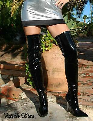 Erogance Lacquer Stretch Overknee Boots Black Size 37 - 46 New 10907A High Heels
