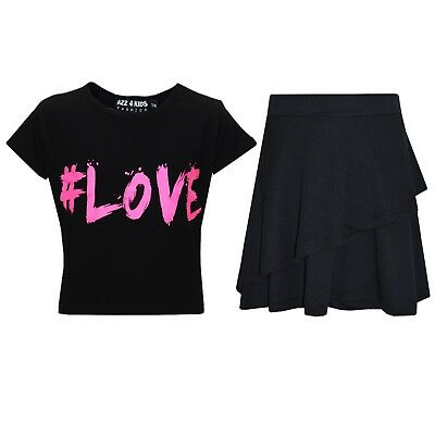Kids Girls Tops #Love Black Crop Top & Double Layer Skater Skirt Set 7-13 Years