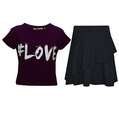 Kids Girls Tops #Love Purple Crop Top & Double Layer Skater Skirt Set 7-13 Years
