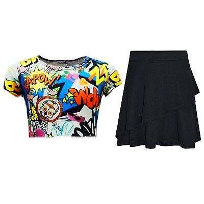 Kids Girls Tops Comic Book Crop Top & Double Layer Skater Skirt Set 7-13 Years
