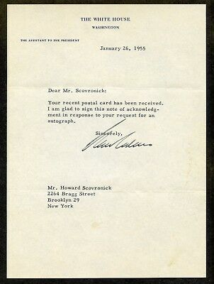 The Assistant To The President Autograph On 1955 Whte House Letterhead