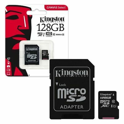 KINGSTON 128Gb Micro SD Card 80MB SDXC TF Memory Card Class 10 + SD Adapter