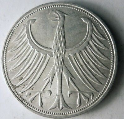 1972 F GERMANY 5 MARKS - High Quality High Value Silver Coin - Lot #D15