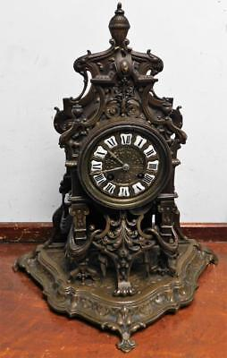 victorian french gothic bronze mantel clock