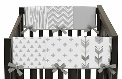 Grey and White Woodsy Baby 2p Crib Side Rail Guard Wrap Cover Teething Protector