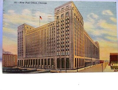 1953 Postcard New Post Office Chicago Il