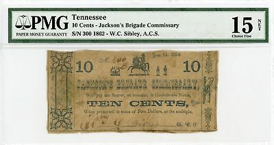 1862 10c Jackson's Brigade Commissary - W.C. Sibley, A.C.S. Sutler Scrip PMG 15