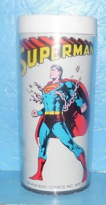 1978 DC COMICS Superman Breaking Chains Insulated Thermal Tumbler Movie Glass