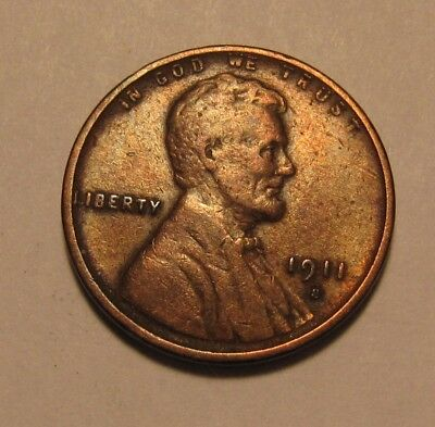 1911 S Lincoln Cent Penny - Very to Extra Fine Condition / Cleaned - 86SA