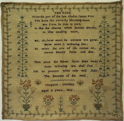 """Early 19Th Century """"the Rose"""" Verse Sampler By Margaret Critchley Aged 8 - 1829"""