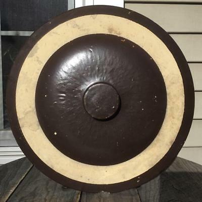 Antique Stoneware Stamped 10 Gal Brown Dome Top Crock Lid Huge Button Knob