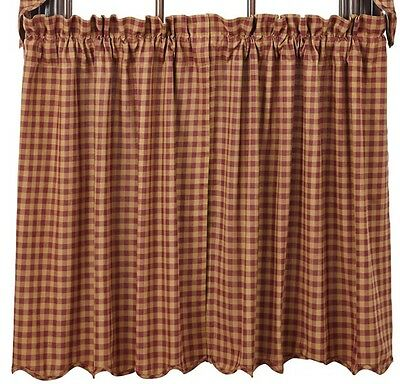 "Country Primitive Burgundy Scalloped Tiers 24"" Rustic Check Homespun Farmhouse"