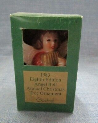 Goebel Angel Porcelain Bell Ornament 1983 Little Girl In Red Glass Original Box
