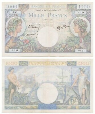 1.ooo Francs French banknote issued in 1940 C xf