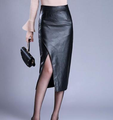 Womens Wrap PU Leather Black Open Hem Sexy Skirts Solid Party Calf Length Dress