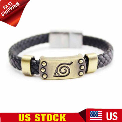 Anime Naruto Konoha Bracelet Leaf Mark Brown Wristband Cosplay Bangle US