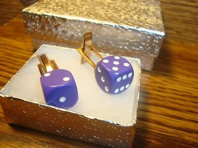 "Purple & White 1/2"" 12mm Lucky ""7"" Dice Cuff links 1 Pair (Two) * Gold Plated  g"