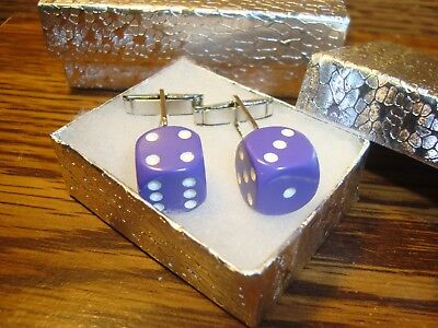 "Purple & White 1/2"" 12mm Lucky ""7"" Dice Cuff links 1 Pair (Two) Silver Plated  s"