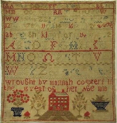 Early 19Th Century Red House & Alphabet Sampler By Hannah Compers? - 1818?