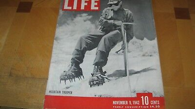 1942 Life Magazine November 9 Mountain Trooper   High Grade Lowest Price On Ebay
