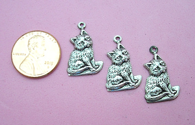Charming Vintage Design Antique Silver Plated Brass Sitting Kitten Charms - 4 Pc