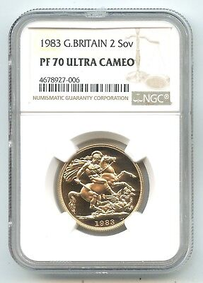 1983 Great Britain GOLD TWO SOVEREIGN PF 70 ULTRA CAMEO NGC PERFECT COIN!!