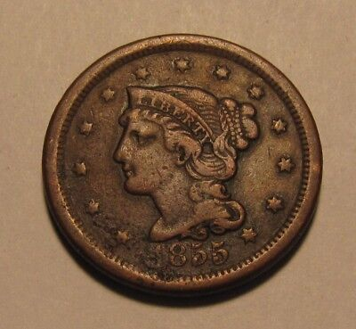 1855 Braided Hair Large Cent Penny - Extra Fine Details - 174SA