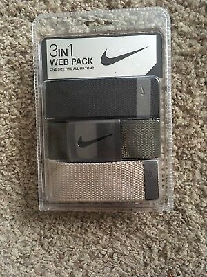 Nike Golf Men's 3 in 1 Web Pack Belts, Black, Beige, And Olive Up To Waist 42