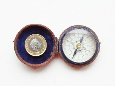 Antique Compass ~ Pocket Compass ~ Leather Case Brass Body~Beveled Glass