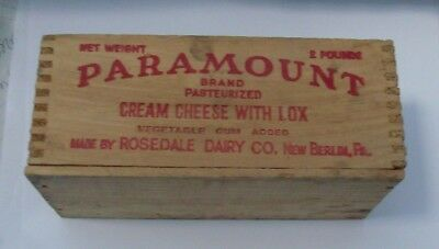 Vintage Paramount Cream Cheese w Lox Wood Box - Rosedale Dairy Co New Berlin, PA