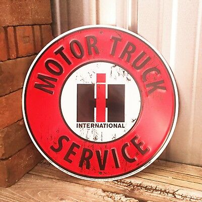 "International Harvester IH Motor Truck Service 12"" Metal Tin Sign Vintage Garage"
