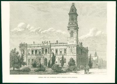 1874 Antique Print - AUSTRALIA Adelaide General Post Telegraph Office Clock (72)