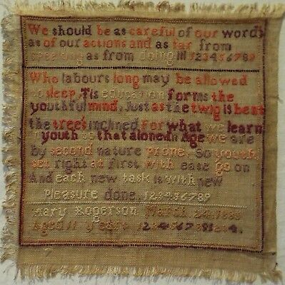 Small Late 19Th Century Quotation Sampler By Mary Rogerson Aged 11 - 1885
