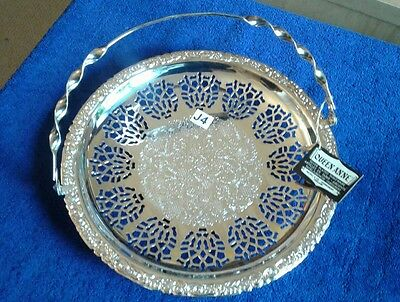 "Vintage Queen Anne Silver Plated Cake Stand /tray 9 3/4"" With Handle"