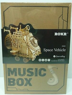 Robotime Wooden 3D Puzzle Robot Space Vehicle Music Box Steam Punk AM681 ROKR