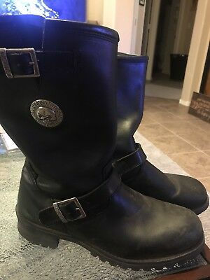 Harley Distortion Willy G Black Leather men's Size 11 Motorcycle Skull Boots