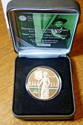 Ireland 15  Euro Silver Proof 2018. Women's Right To Vote.   0.925 Silver