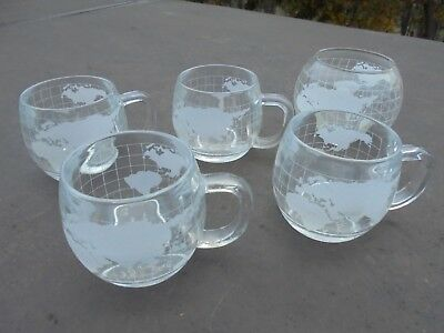 Vintage 4 NESTLE CO Etched Glass World Globe Coffee Cups Mugs & one Sugar bowl