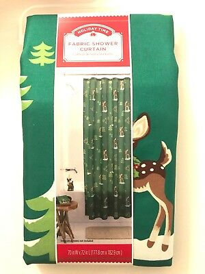 Fabric Shower Curtain, Green with Reindeer