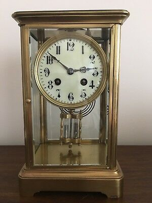 Antique Library Clock, French movement with mercury pendulum, fully restored