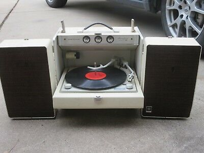 Vtg Rare Ge Stereophonic Trimline 300 Turntable Rp-2158A + R/ Speakers